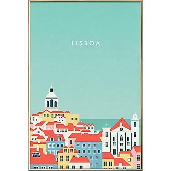 JUNIQE Print - Lisboa - Vintage Rejseplakat i blåt og farverigt