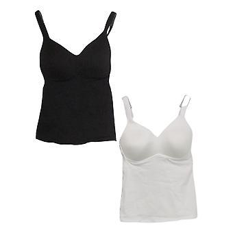 Rhonda Shear Women's 2-pack Cotton Molded Cup Camisole Black Bra Set 728793