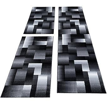 Bettumrandung Läufer Teppich Kariert Muster Läuferset 3 teilig Meliert Schlafzimmer Flur Grau Schwarz Weiß