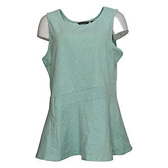 H por Halston Women's Top Sleeveless Tunic w / Flare Hem Blue A287107