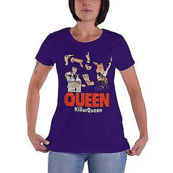 Queen T Skjorte Killer Queen Band Logo Nye Offisielle Kvinner Skinny Fit Lilla