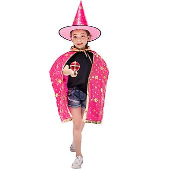 Wizard Cape Witch Cloak With Hat, Halloween Costume For Kids Cosplay Party