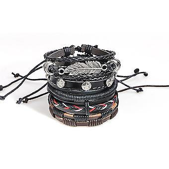 Adjustable Multilayer Retro Men Bracelet Vintage Stretch PU Leather Row Set