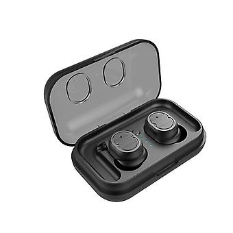 Mini True Wireless Bluetooth 5.0 Earbuds Twins Headset Earphone Headphone for Mobile Smart Phone(black)