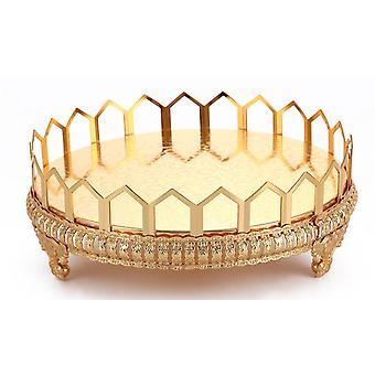 Metalowa taca Luksusowa płyta Złoty finisz Hollow Cake Stand Wedding Centerpieces| Tace do przechowywania