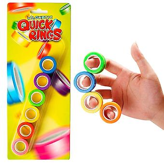 6-Pack Magnetic Quick Rings Neon Stressringar