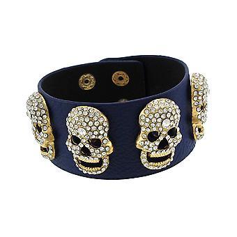 Blauwe Vinyl armband w / Strass ingelegde Goldtone schedels