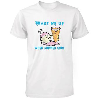 Wek Me wanneer zomer ijs mannen T Shirt humoristische zomer wit grappig T-shirt eindigt