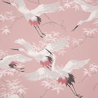 Cranes Pink Wallpaper