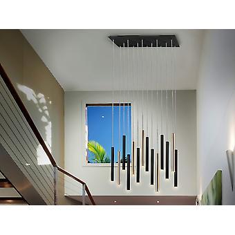 Schuller Varas Ultra Slim Dimbare 14 Licht Ophanging Hanglamp, Goud & Mat Zwart, Maximale Hoogte 3 meter met Afstandsbediening