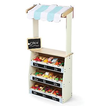 Pretend shopping grocery wooden play shop and theatre