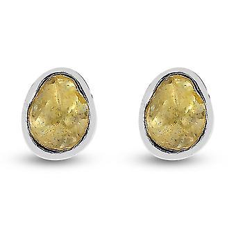 Természetes sárga gyémánt stud fülbevaló ajándék neki Platinum bevonatú ezüst 0.25ct