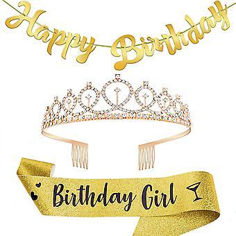 Petrecere La mulți ani curea de umăr cercevea Crystal Crown Headwear Set