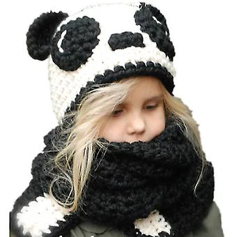 Kids Winter Knitted Hood Scarf Beanies Ear Warmers Cartoon Cloak Woolen Cap