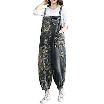 Plus Size Demin Pants Flower Printed Overalls Ripped Pants