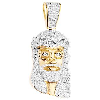 قسط بلينغ-925 الاسترليني الفضة الذهب قلادة رأس يسوع