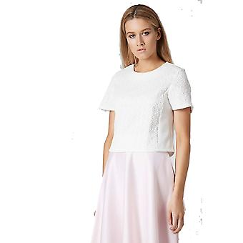 Topshop White Jacquard Front Tee TP576-8