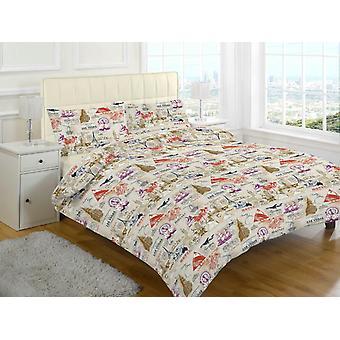 Maurer Vintage gedruckt Quilt Bettbezug Bettwäsche Set