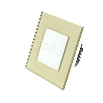 Jeg LumoS gull Glass ramme 3 gjengen 1 måte ekstern Touch lampe bytte hvit sett inn
