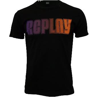 Replay T-Shirt Logo multicolore, noir