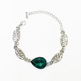 Jewellery Bracelet Silver and Dark Turqoise Stone Teardrop Leaf