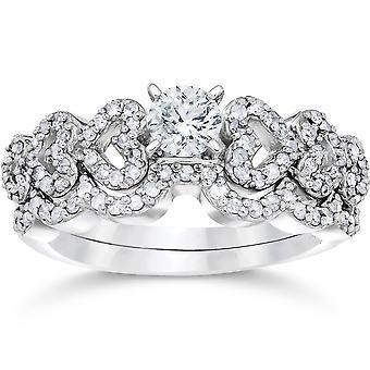 3 / 4ct hart vorm Diamond Engagement Ring Set 14K White Gold