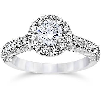 3/4ct Vintage Halo Diamond Engagement Ring 14K White Gold