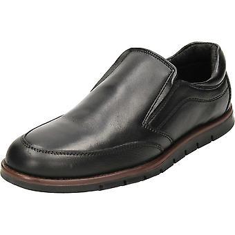 Dr Keller Black Leather Slip On Shoes
