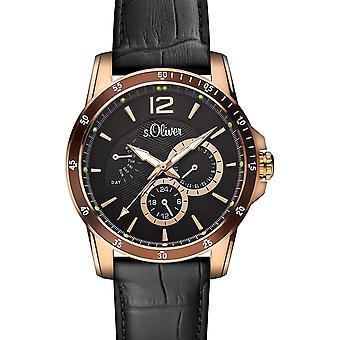 reloj de pulsera de s.Oliver hombres cuarzo analógico IP oro SO-15150-LMR de cuero