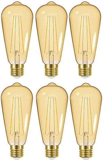 6 X Energizer LED ST64 Energy Saving Lightbulb ES/E27 470lm Warm White[Energy Class A+]