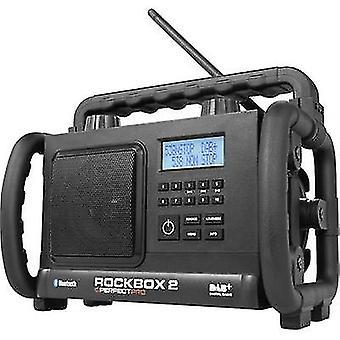 PerfectPro Rockbox 2 werkplek radio DAB +, FM AUX, Bluetooth spatwaterdicht, stofdicht, schokbestendig zwart
