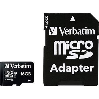 Verbatim MICRO SDHC 16GB CL 10 ADAP microSDHC card 16 GB Class 10 incl. SD adapter