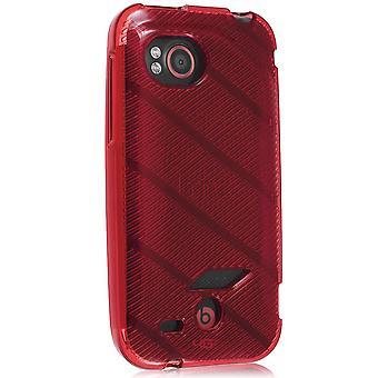 Verizon High Gloss Silicone TPU Gel Skin Case For HTC Rezound 6425 (Red Stripe Pattern)