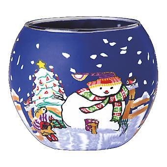 Kerzenfarm 11cm glødende Glass, snømann