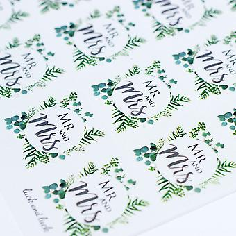 MR AND MRS Single Sticker Sheet BOTANCIAL WREATH with 35 Stickers Wedding