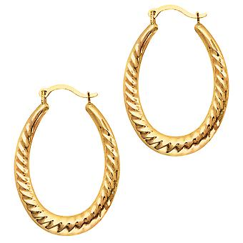 10k Yellow Gold Ridged Oval Shaped Hoop Earrings, Diameter 30mm