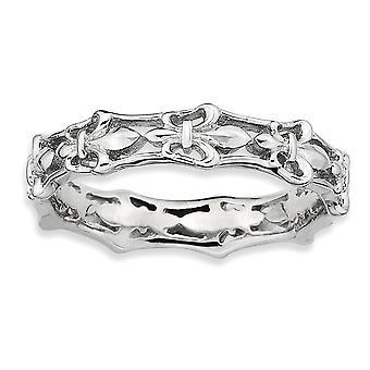 925 Sterling Silber gemustert poliert Fleur De Lis stapelbare Ring Schmuck Geschenke für Frauen - Ring Größe: 5 bis 10