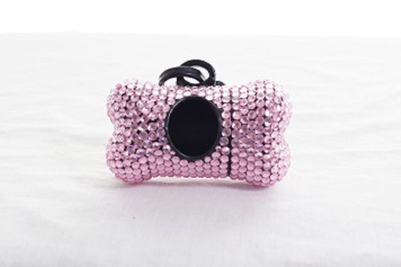 Light Pink Crystal Rhinestone Bone shaped Waste Bag Dispenser