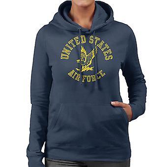 U.S. Airforce örn gul Text Women's Hooded Sweatshirt