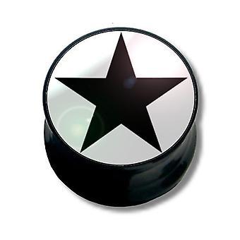 Ucha Plug Piercing, biżuteria ciała, czarna gwiazda | 6 - 16 mm