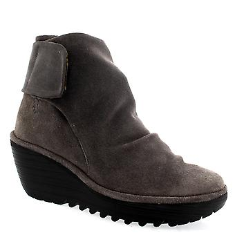 Womens Fly London Yegi 689 Oil Suede Grey Wedge Heel Velcro Ankle Boots
