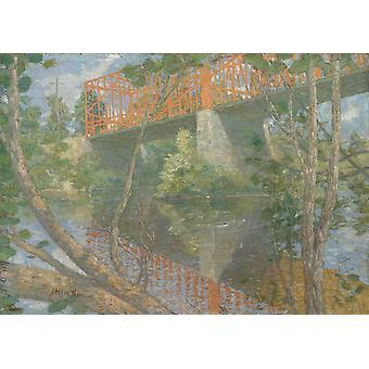 The Red Bridge, Julian Alden Weir, 60x40cm