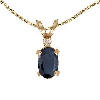 LXR 14k Gul Guld Oval safir og Diamant Filagree Vedhæng 0.39ct