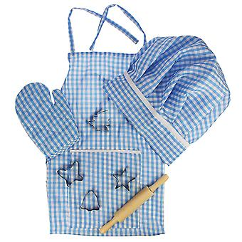 Bigjigs Toys Children's Chef Outfit Set (Blue) Baking Cooking Pretend Play Kid's