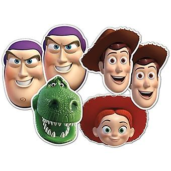 Toy Story Card Fancy Dress Masks Set of 6 (Woody x 2, Buzz x 2, Jessie and Rex)