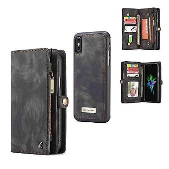 CASEME iPhone X/XS Retro Split leather wallet Case-grey