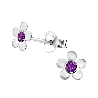 Flower - 925 Sterling Silver Crystal Ear Studs - W3847x