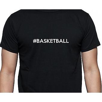 #Basketball Hashag basket svart Hand tryckt T shirt