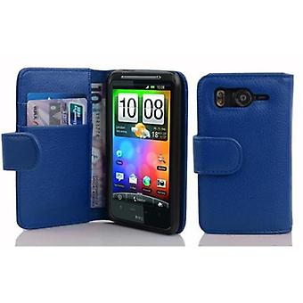 Cadorabo Case for HTC DESIRE HD in KING BLUE – Phone case in structured faux leather with stand function and card compartment – Case Cover Protective Case Case Book Folding Style