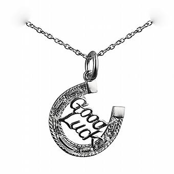 Silver 16x16mm solid Horseshoe with Good Luck Pendant with a rolo Chain 24 inches